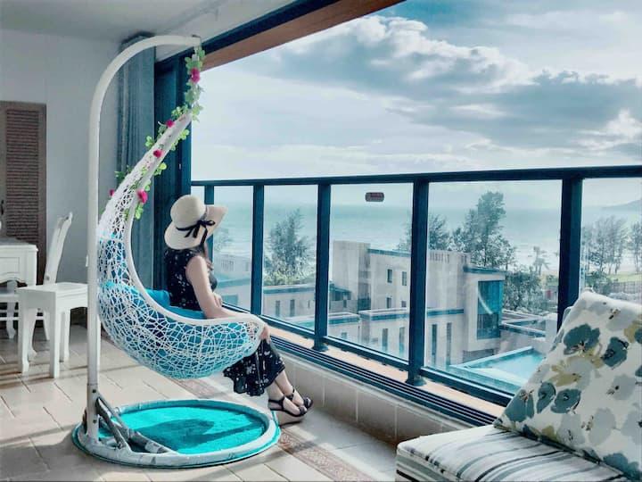 地中海KTV 豪华高配置海景两房一厅&带摇篮&自动麻将机&电磁炉&可观看海上日落,么么哒!
