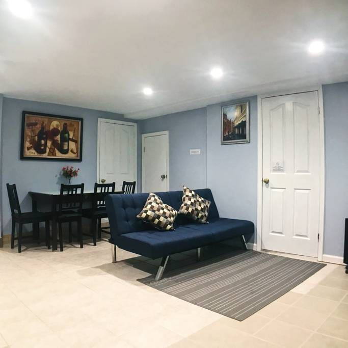 Living area - Dining Table, TV, Futon/Sofa Bed