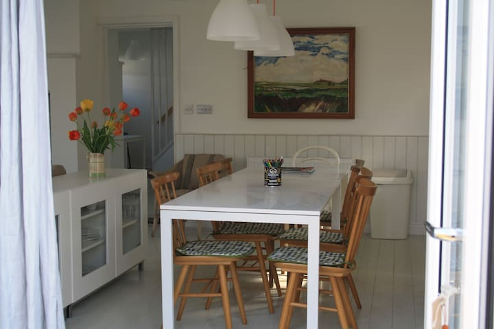 French doors from kitchen into garden