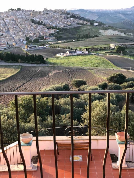 Beautiful view of the town of Pietraperzia below from our lovely master bedroom balcony