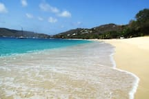 The crystal clear Caribbean Sea, a minutes walk from your rooom