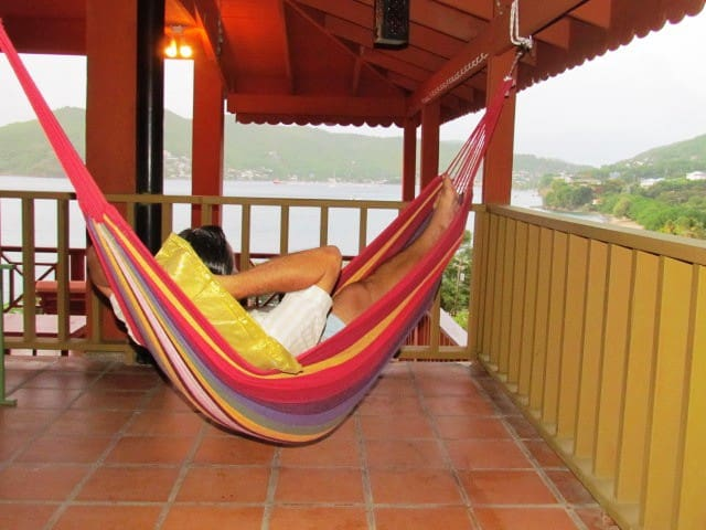 Spending a lazy morning in one of the hammocks on the deck area