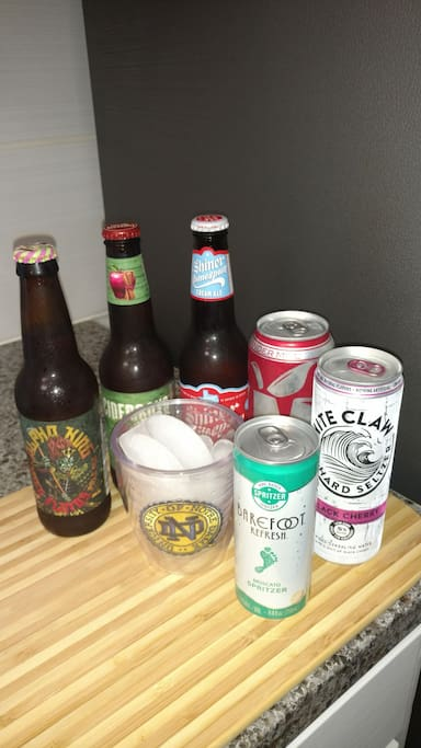 To ensure my guests feel at home, I include a bottle of my favorite craft beer or a can of my favorite cocktail beverages to sample!