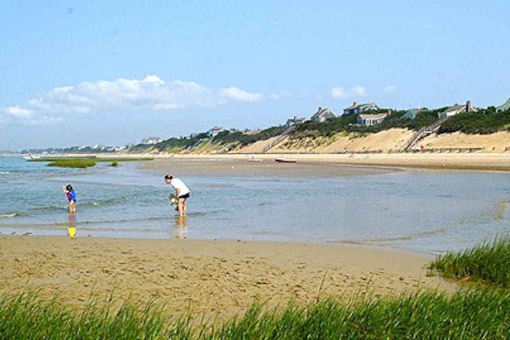 Want an authentic Cape Cod beach with warmer waters and gentler waves?  Try First Encounter Beach, Eastham's Town beach on the Bay side.  Less than a 5 min drive or 10-min. bike ride away.