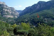 Lage des Hauses am Schluchteingang zur Gorges du Loup