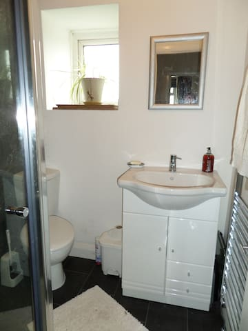 small clean shared shower room next to the bedroom