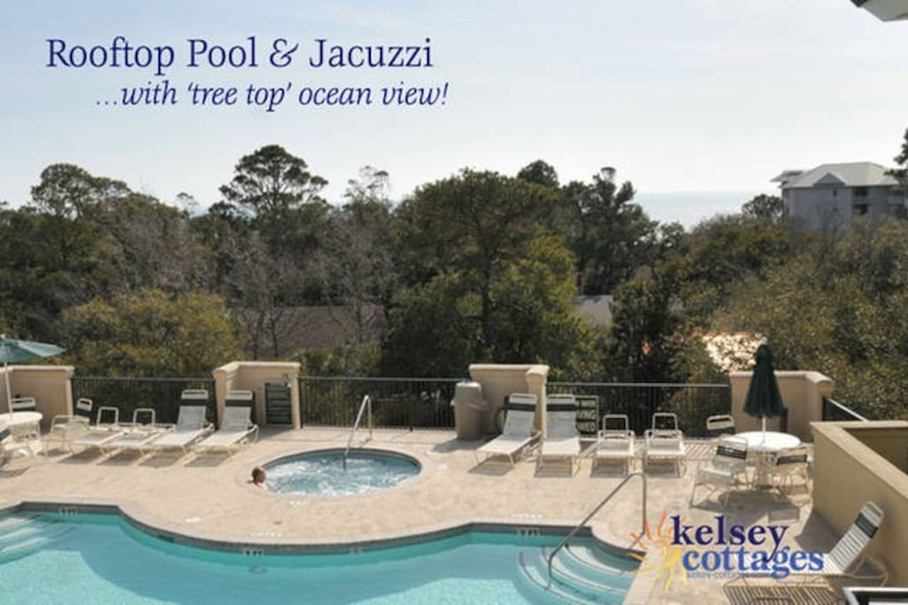 Rooftop pool & jacuzzi. The only one of its kind on the island
