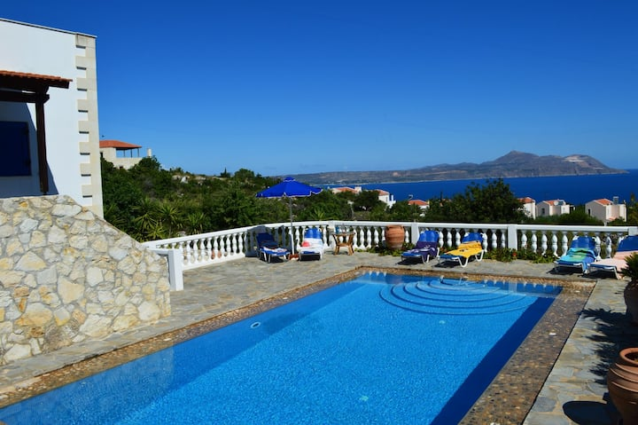 Big pool★Sea view★Greek Blue & White Villa