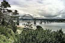 Yaquina Bay Bridge, located about 5 miles south.