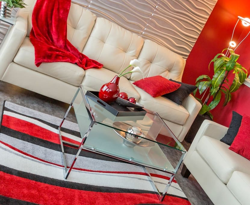 A perfect place to curl up and relax after meetings or sightseeing all day :-) That red throw is the softest!