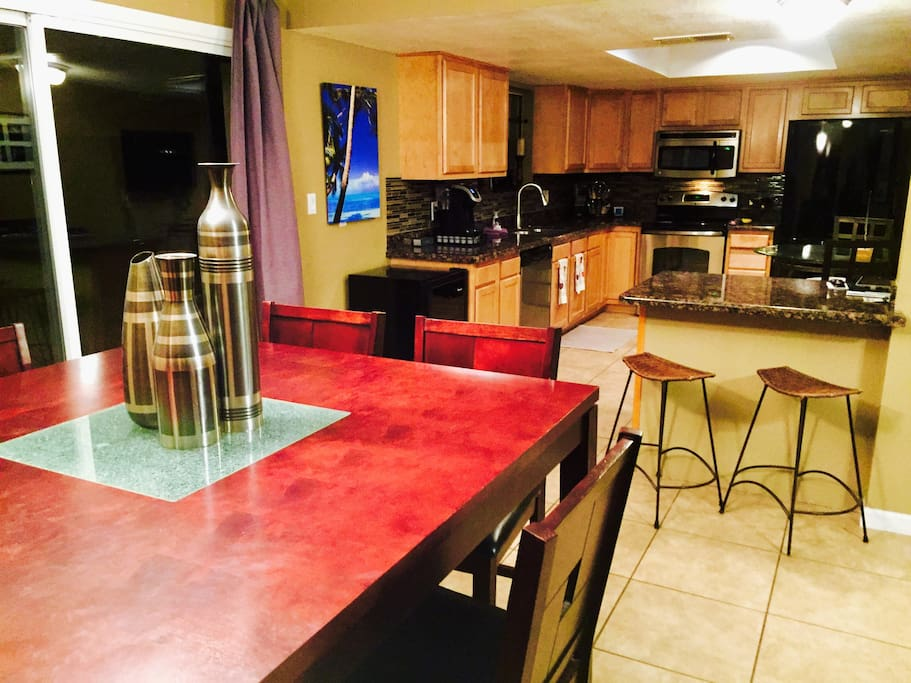Seating directly accesses kitchen