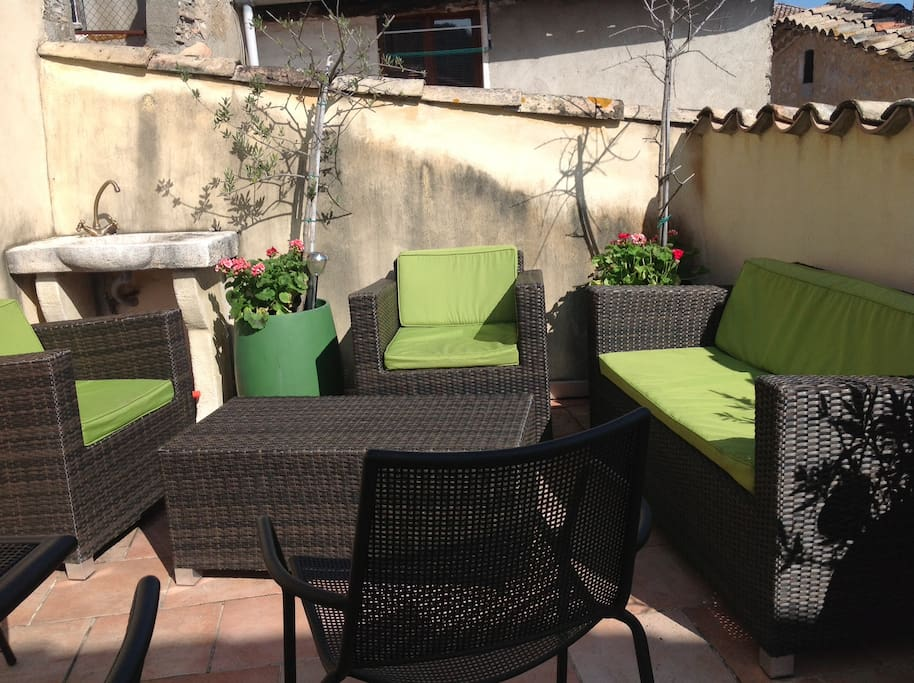 Roof terrace at Easter