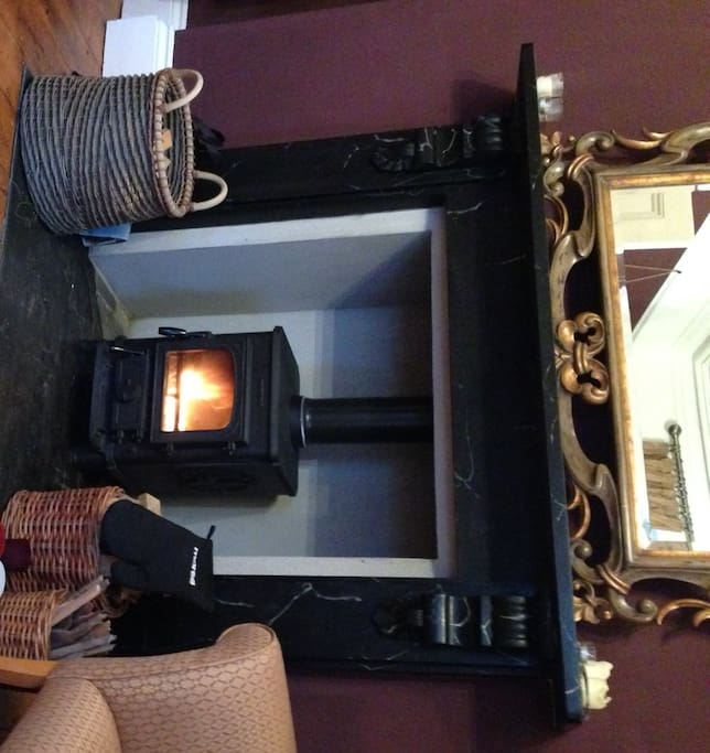 Guest Lounge with woodburner going