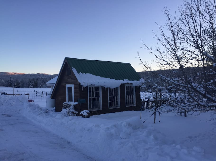 View of cabin after fresh snow