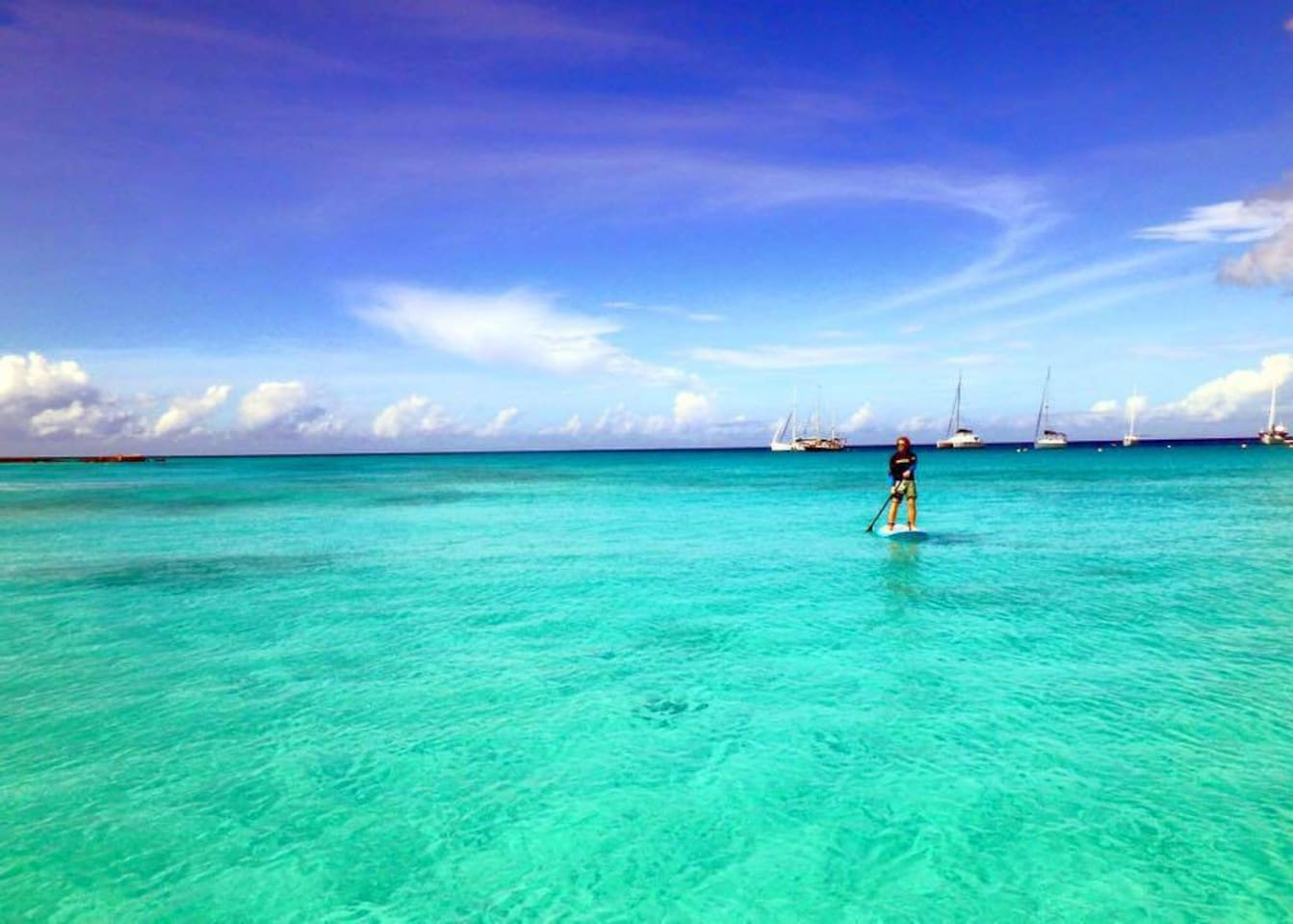 Paddle Boarding at Pebbles beach (pic courtesy of Paddle Barbados.