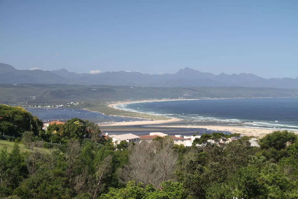 View from the deck towards Tsitsikamma Mountains, river and ocean.