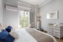 Sunny bedroom equipped with AC