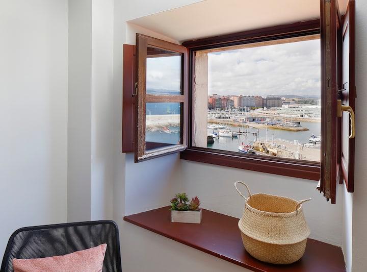Vistas al puerto Cimadevilla 2 hab 2 baños