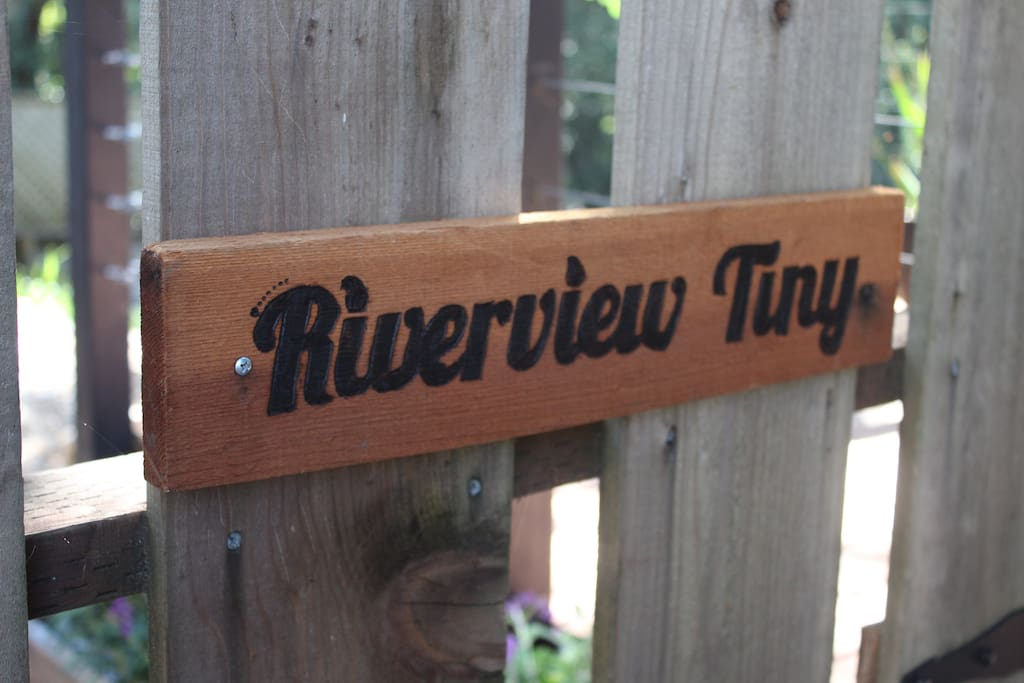 Gate entrance sign to Riverview Tiny.