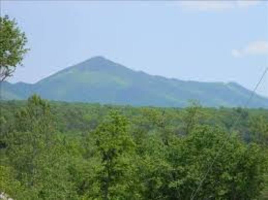view of Kennedy's Peak (highest point on Massanutten Mountain Range) from deck of our cabin