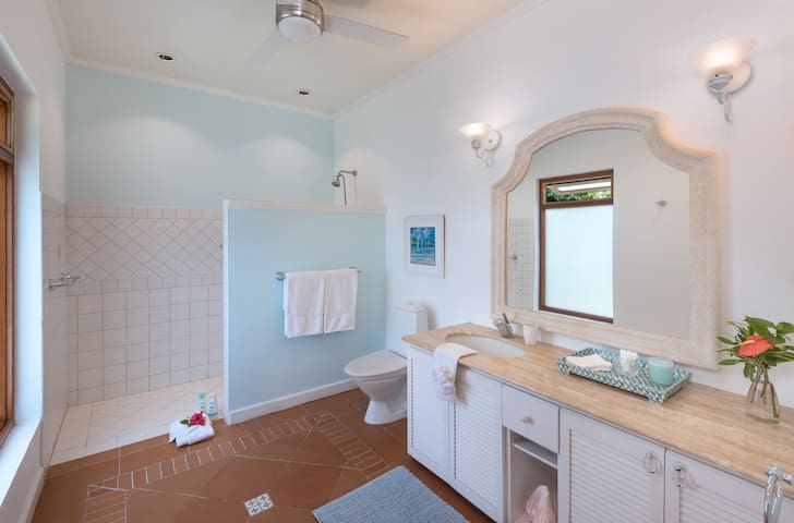 The Rose ensuite bathroom with fully handicap accessible shower area on ground level.