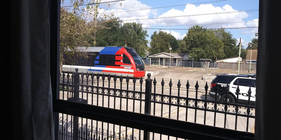 View from the living room, this is how closed you are to the Houston  train station. You can explore the adventure that downtown has to offer.