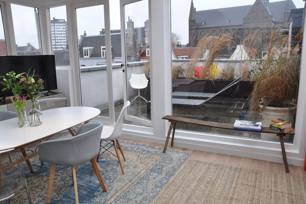 The apartment has two terraces with views over Utrecht