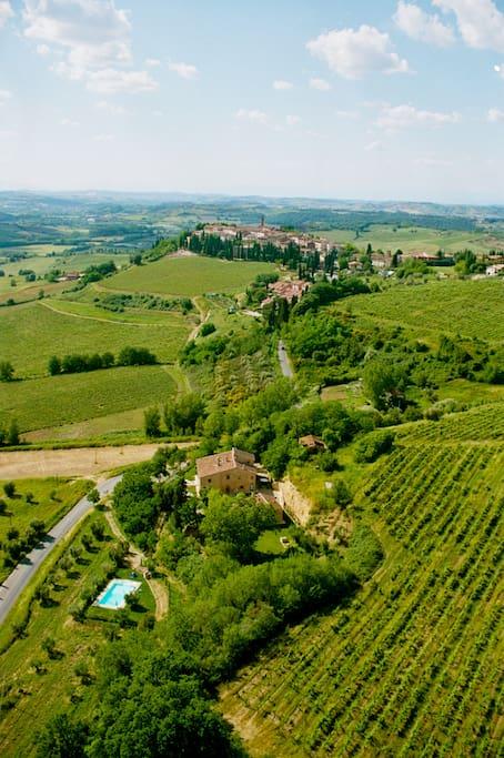 Veduta aerea della casa vacanze Podere Villetta