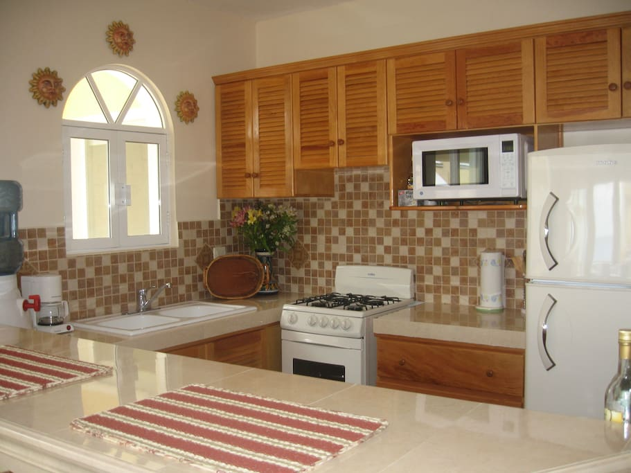 Fully equipped kitchen with everything you will need to enjoy the beauty of Cozumel.  Make margaritas!!!