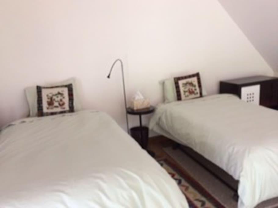 mezzanine loft two single beds