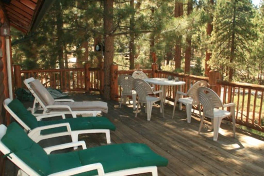 Main deck overlooking back woods / lake