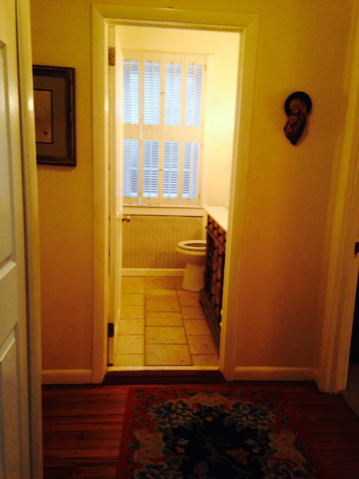 Steps away from main floor shared master bath with walk-in shower (not handicapped approved).