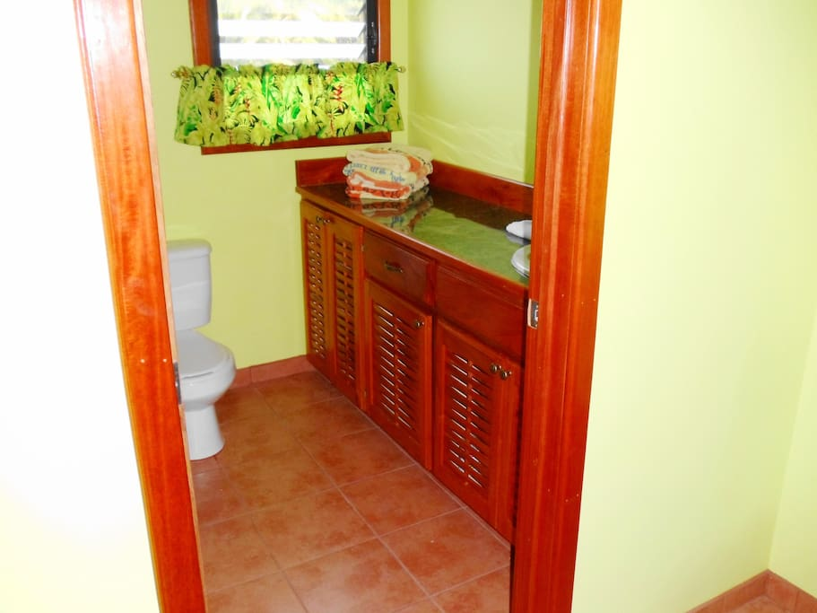 RASTA: Inside toilet, mahogany furniture