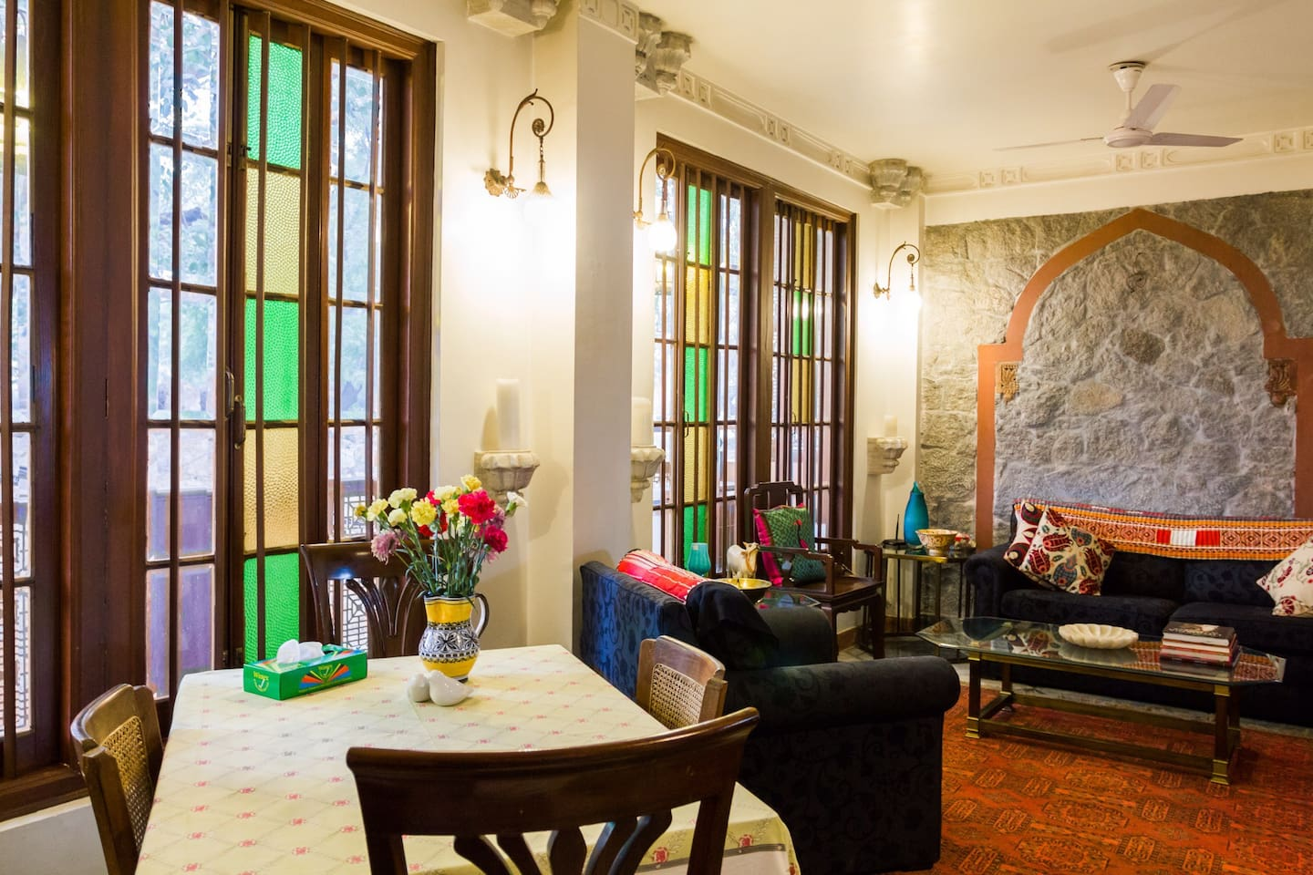The living room with Italian marble, 19th century doors and furniture and decorated with the finest furnishings