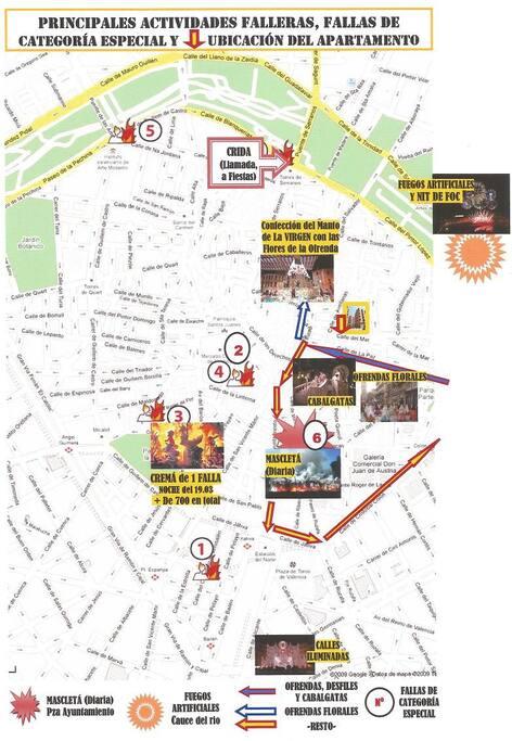 Plano de ubicación del apartamento -en relación con las principales actividades falleras