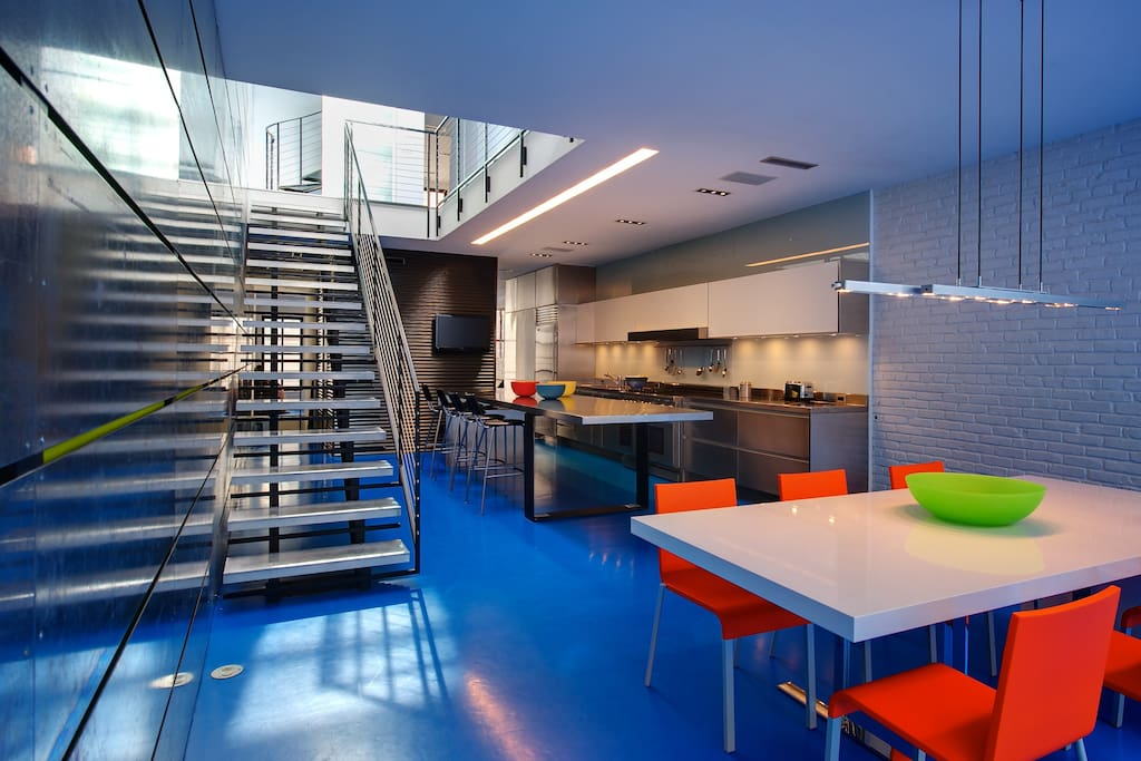 Dining Room Table/Stainless Steel Island/Kitchen