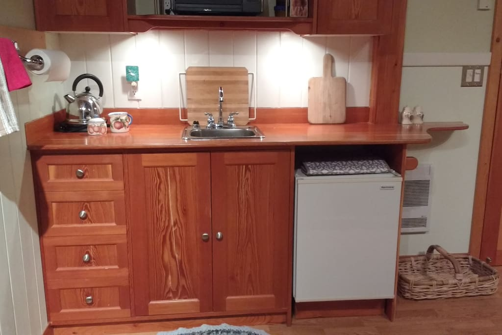 kitchenette with small refrigerator