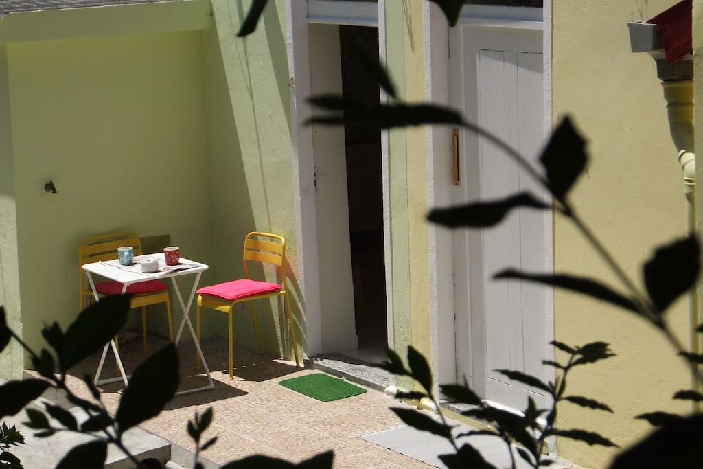 sunny private spot in front of your door with a table and 2 chairs. Your patio is the size of a balcony.