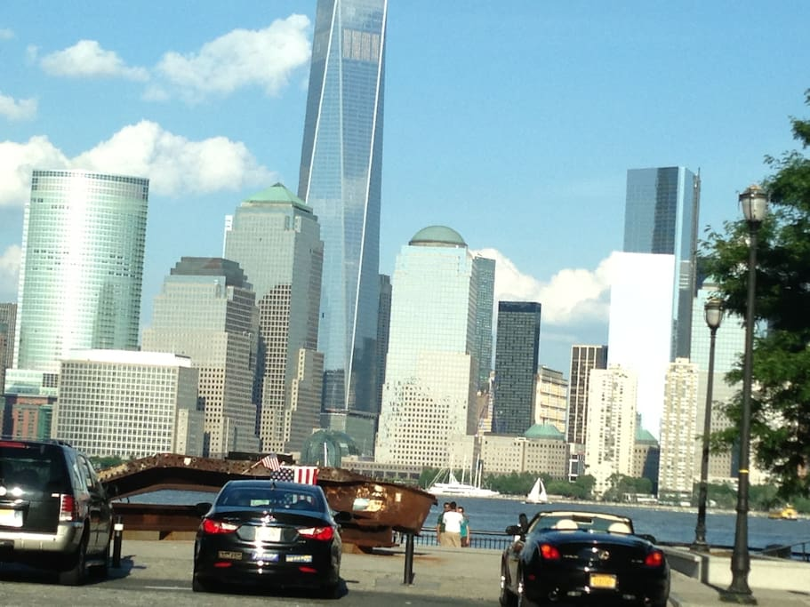 downtown Manhattan as seen from boardwalk along Hudson river on jersey city side a few mins from room.