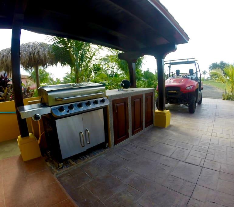 Outdoor kitchen, sound system, and Bbq