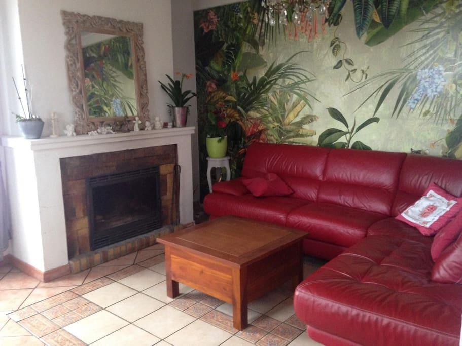 Confort d'un Salon en cuir et d'une télé curve grand écran dernier modèle.
