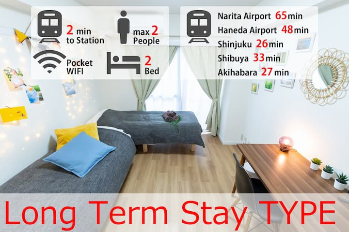 Long term stay type!Free Wifi! 2min Sta.walk #SU06