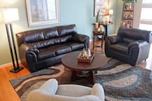 Relax in oversize leather sofa and chair