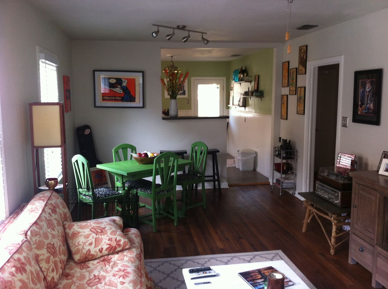 Tasteful and funky living/dining room.