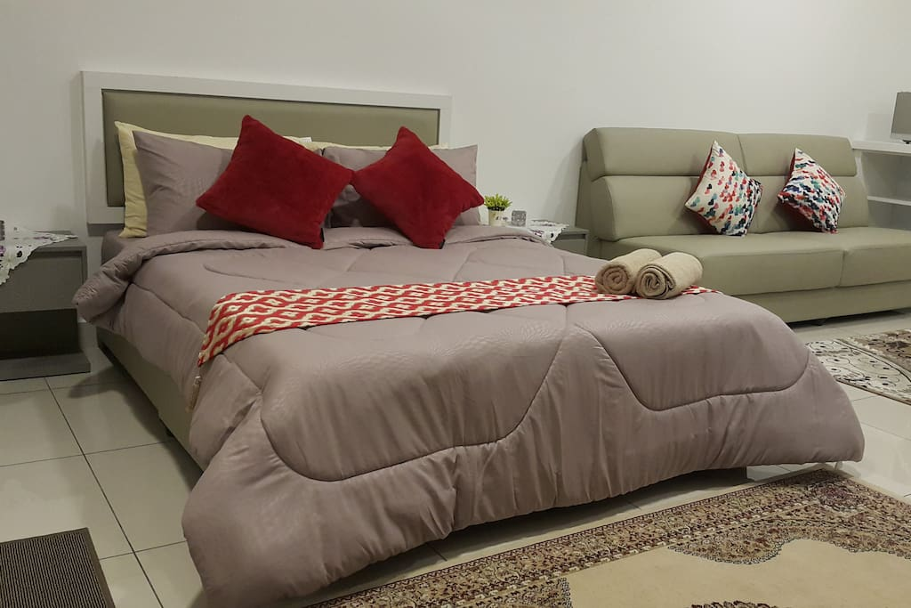 Queen bed with 4 Pillows,  a luxurious Comforter set and 2 throw cushions.