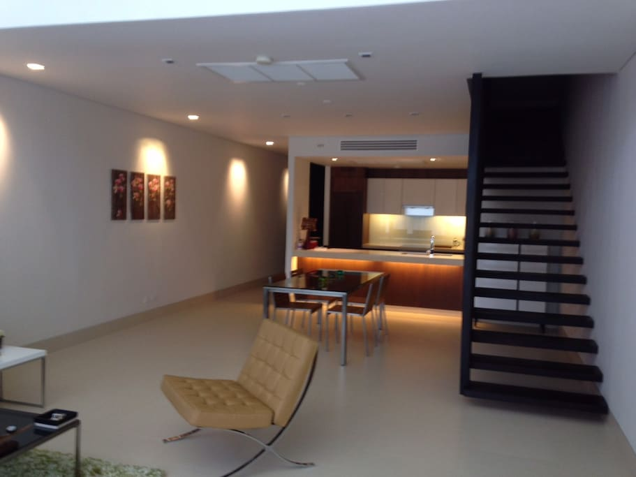 Living-room and the opened kitchen