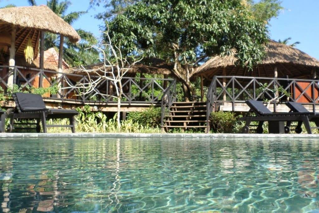 Notre piscine au Sel restaurant et Lounge Bar ouvert sur la Rizière