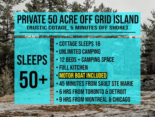 50 ACRE PRIVATE ISLAND ✔ MOTOR BOAT INCLUDED ✔