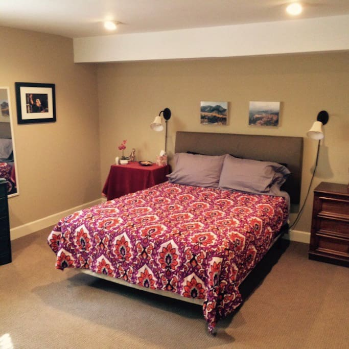 Large private bedroom with full closet, den, and private entrance