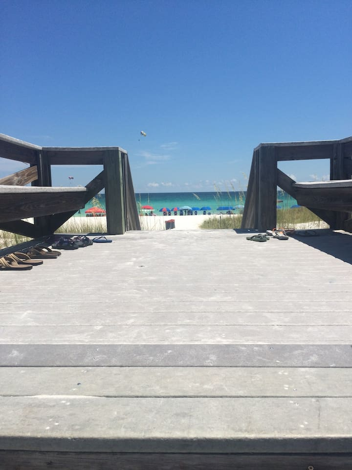 This is a photo from the view of the private beach as you walk down the stairs to the sand!